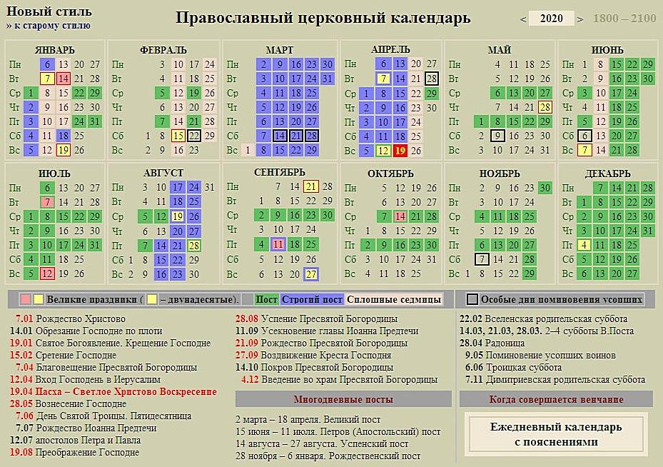 Православный календарь на 2020