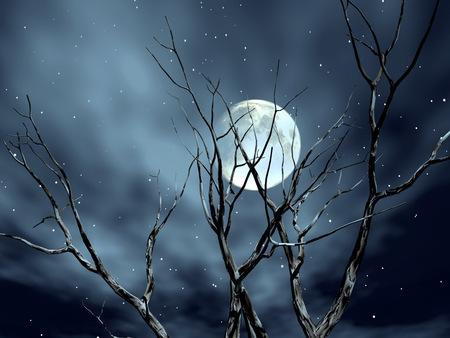 Луна среди деревьев
